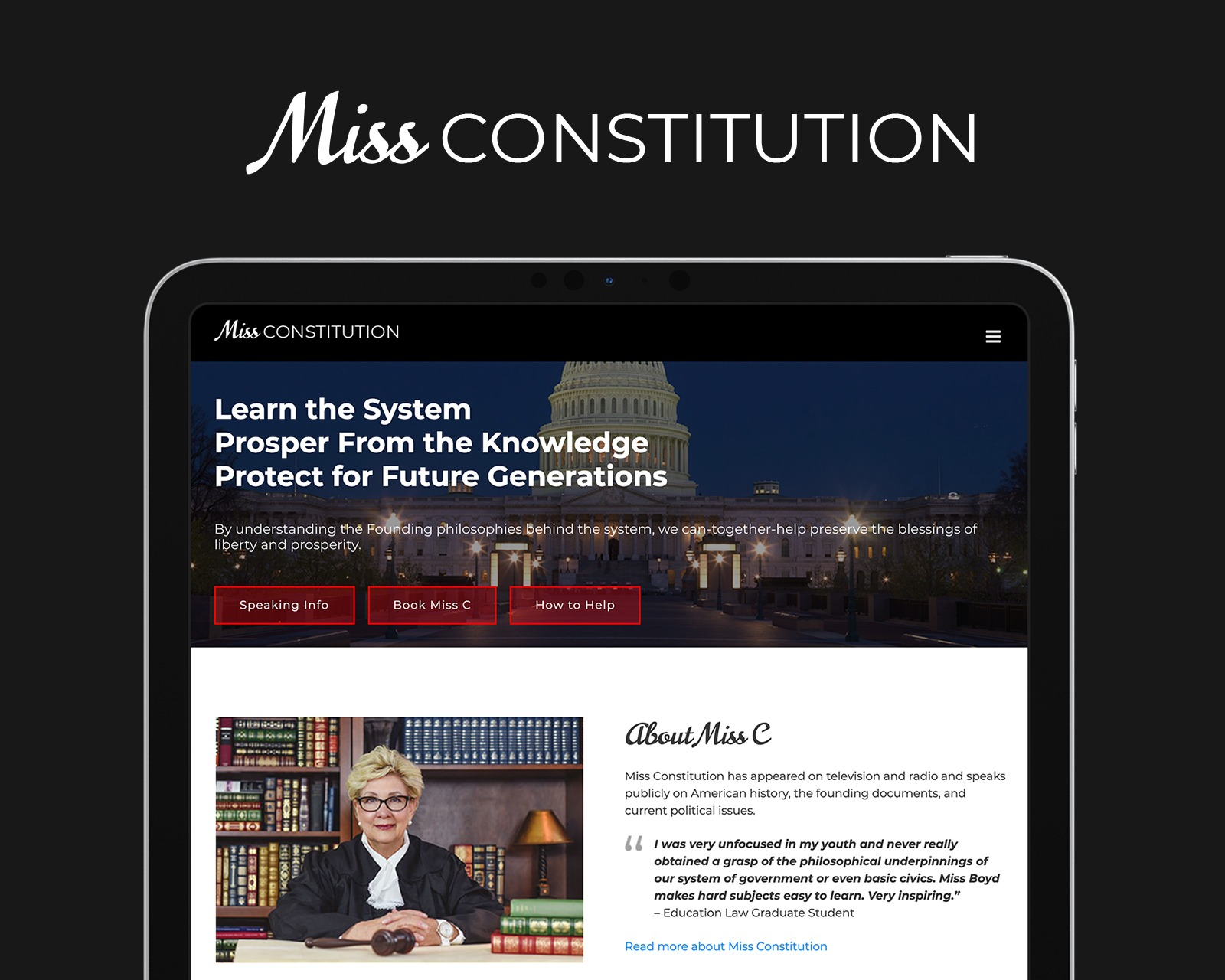 Miss Constitution Logo and Website Design